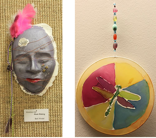 image of a mask and an image of a dragonfly suncatcher