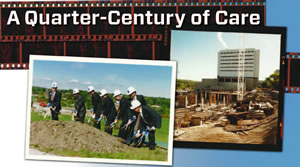 image of the cancer center groundbreaking and the building under construction