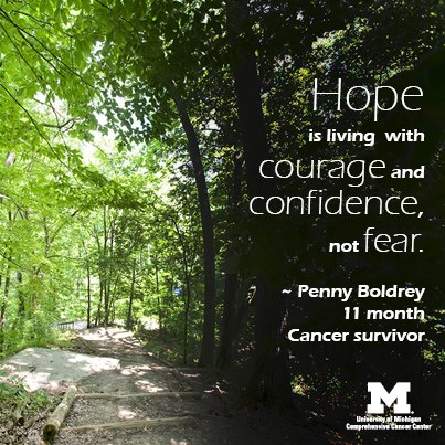 Hope is living with courage and confidence, not fear!
