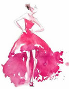 graphic of model in pink gown