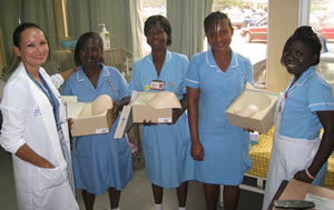 Dr. Newman with nurses at the Komfo Anokye Teaching Hospital in Kumasi, Ghana