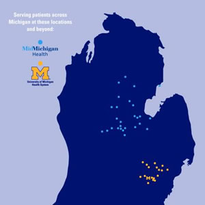 Map of Michigan highlighting affiliation locations