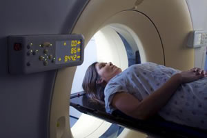 early stage breast cancer patient getting a CT scan