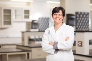 Diane Simeone, M.D., in the new Translational Oncology Program laboratory space at NCRC