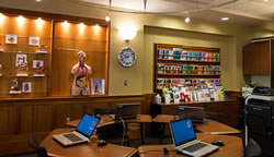 view of the computer stations within the Patient Education Resource Center