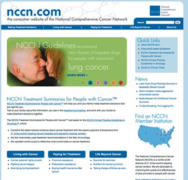 Image of the NCCN homepage